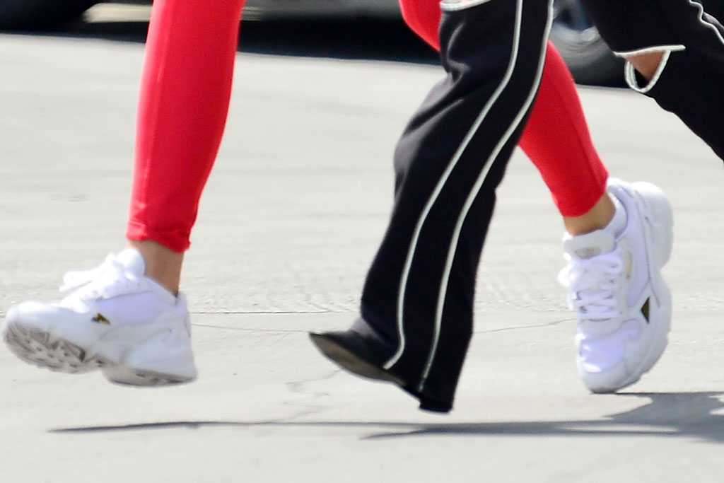 Kylie Jenner, Adidas Falcon sneakers, street style, celebrity style