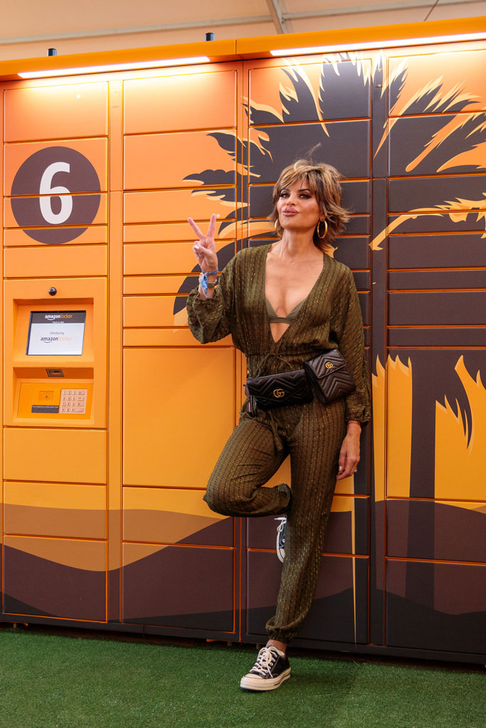 lisa rinna, amazon lockers at coachella, gucci fanny pack, eres, bathing suit, jumpsuit