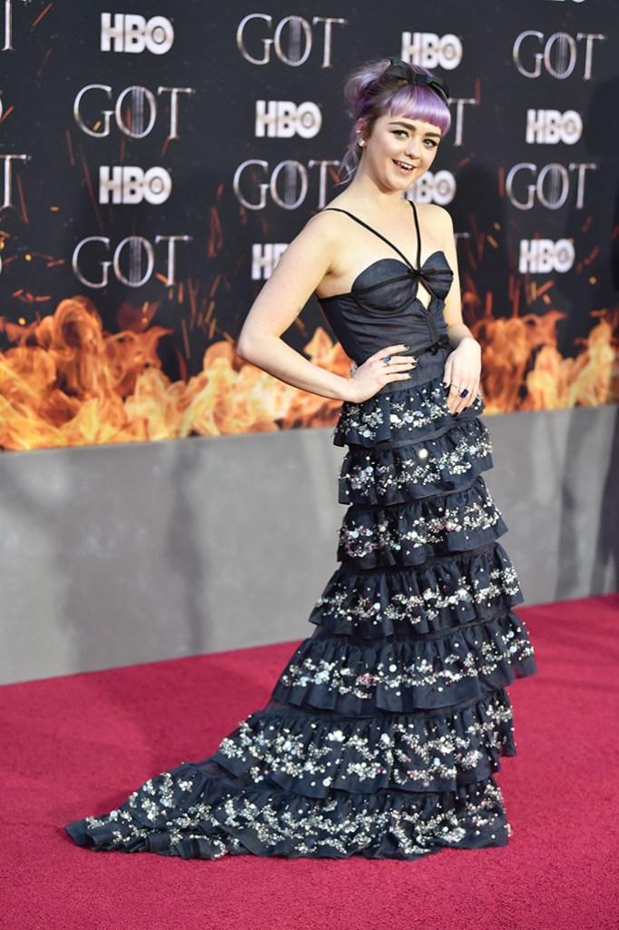 Maisie Williams, celebrity style, miu miu, red carpet, 'Game of Thrones' season eight premiere, Arrivals, New York, USA - 03 Apr 2019Wearing Miu Miu