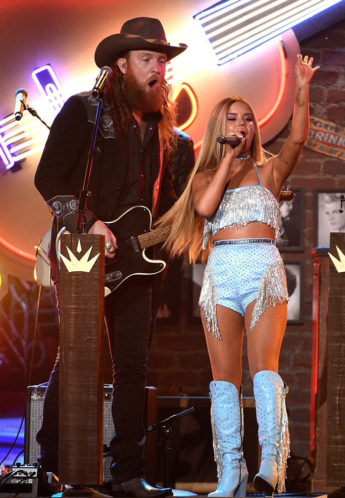 """John Osborne, Maren Morris. John Osborne, of Brothers Osborne, left, and Maren Morris perform """"All My Favorite People"""" at the 54th annual Academy of Country Music Awards at the MGM Grand Garden Arena, in Las Vegas54th Annual Academy of Country Music Awards - Show, Las Vegas, USA - 07 Apr 2019"""