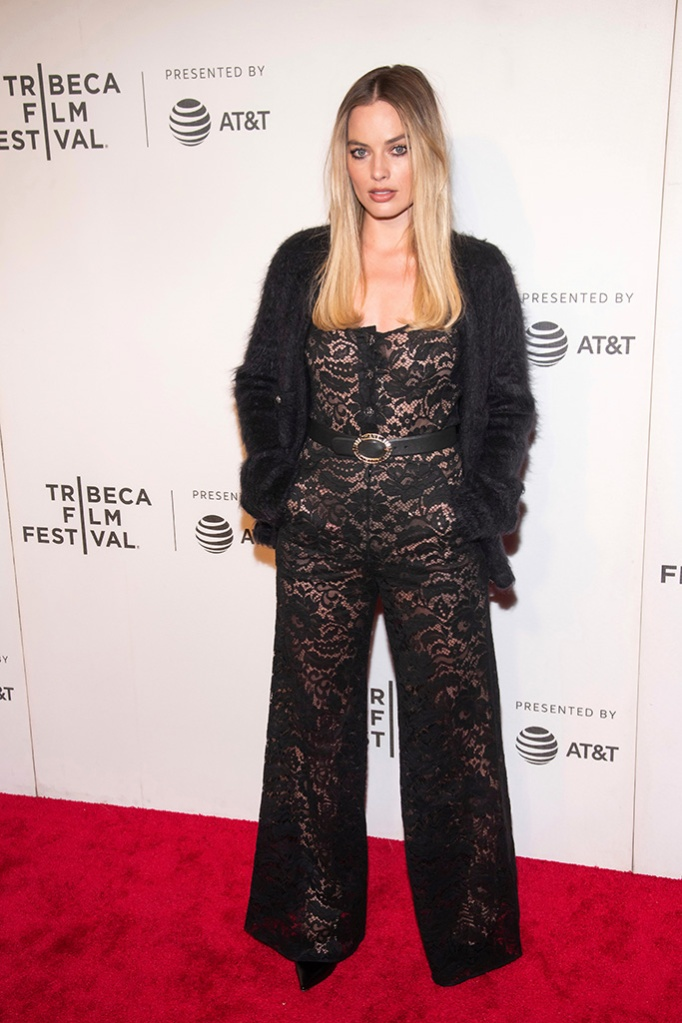 "Margot Robbie , see-through lace jumpsuit, chanel, pointy-toed pumps, attends the screening for ""Dreamland"" during the 2019 Tribeca Film Festival at the BMCC, in New York2019 Tribeca Film Festival - ""Dreamland"" Screening, New York, USA - 28 Apr 2019"