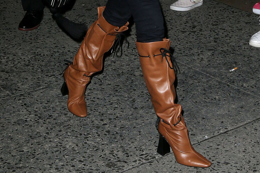 martha hunt, brown boots with lacing, gigi hadid 24th birthday party, new york, celebrity style