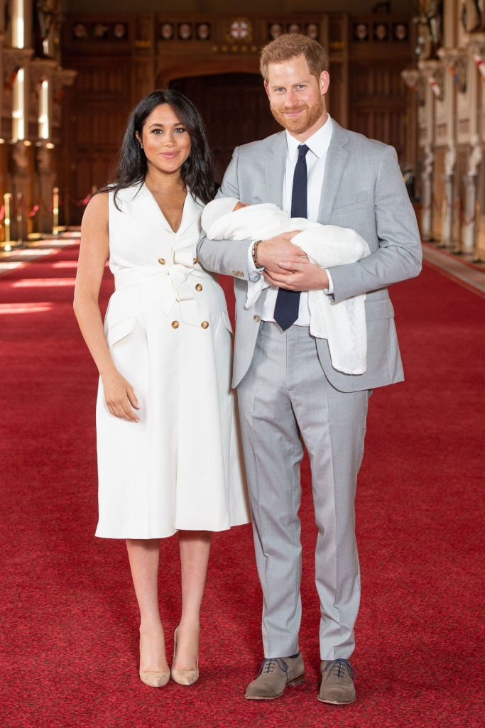meghan markle and prince harry baby, grace wales bonner, manolo blahnik bb pumps, after birth