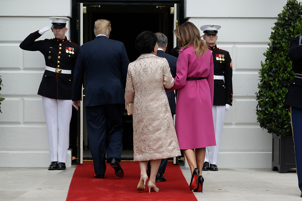 President Donald Trump and first lady Melania Trump greet South Korean President Moon Jae-In and his wife Kim Jung-Sook on the South Lawn of the White House, in WashingtonTrump US Korea, Washington, USA - 11 Apr 2019