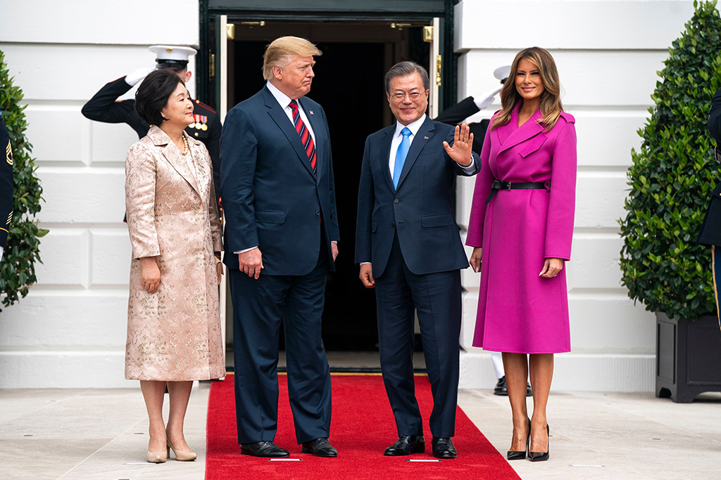 Kim Jung-sook, US President Donald J. Trump, Korean President Moon Jae-In and First Lady Melania TrumpPresident Trump meets Korean President Moon Jae-in, Washington DC, USA - 11 Apr 2019