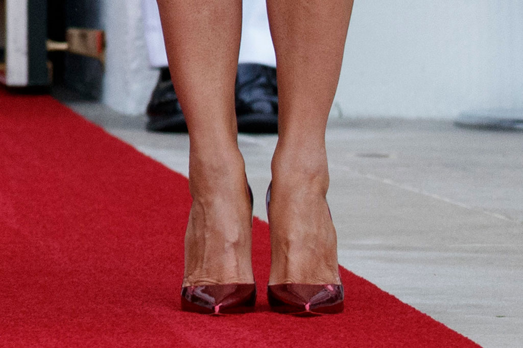melania trump, red metallic pumps, celebrity style, white house, flotus