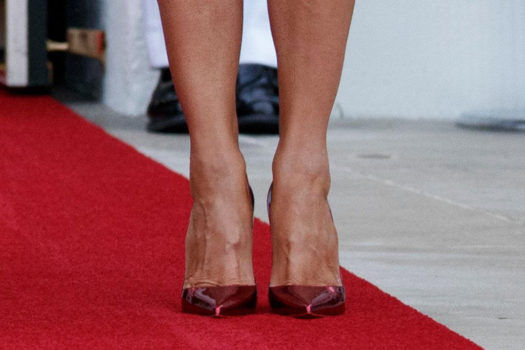 melania trump, red metallic pumps, celebrity style, white house, flotus