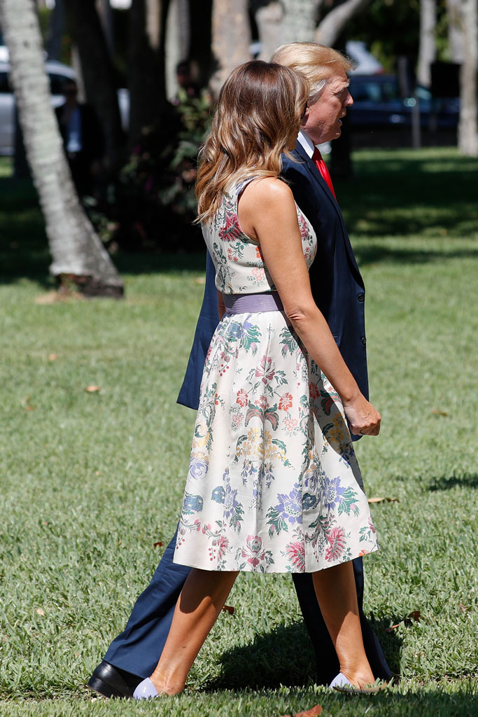 Melania Trump, first lady, palm beach, easter sunday, celebrity style, president donald trump, floral dress, christian louboutin pumps