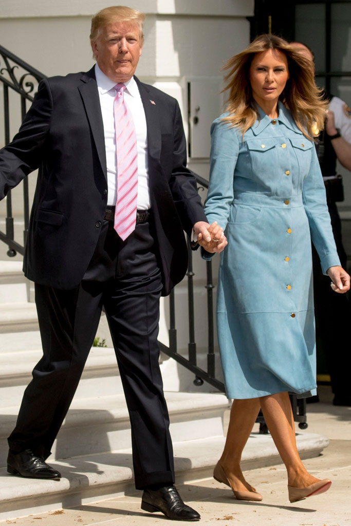 melania trump, donald trump, white house easter egg role, celebrity style 2019, michael kors suede blue coatdress, christian louboutin napa leather flats,