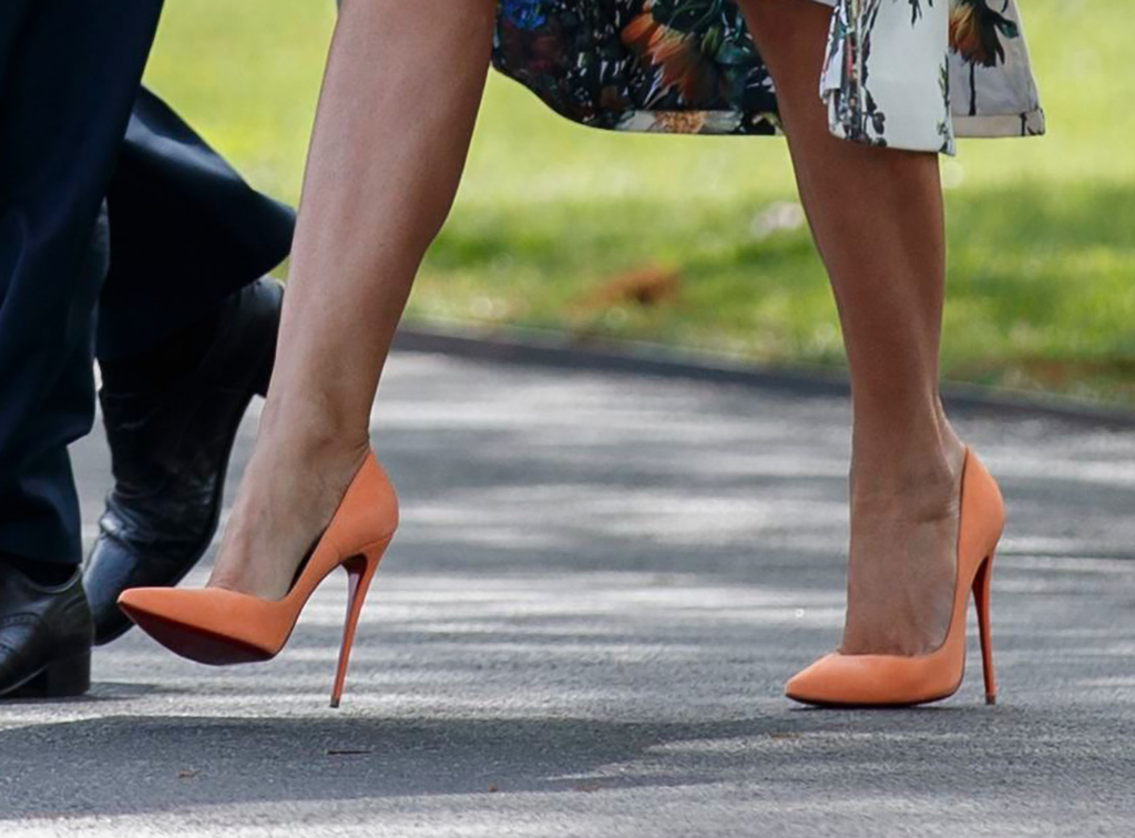 Christian Louboutin So Kate Pumps, US President Donald J. Trump and First Lady Melania Trump walk to board Marine One one without taking questions from the news media on the South Lawn of the White House in Washington, DC, USA, 18 April 2019. The Mueller report, released today, states the special counsel's office found no evidence of collusion with the Russian government, but does not state a conclusion about obstruction of justice.US President Donald Trump and First Lady Melania Trump depart the White House for Florida, Washington, USA - 18 Apr 2019