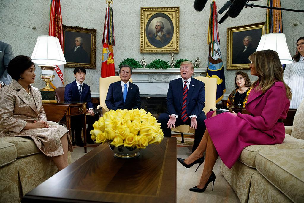 Donald Trump, Moon Jae-in, Melania Trump, Kim Jung-sook. President Donald Trump and first lady Melania Trump meet with South Korean President Moon Jae-in and his wife Kim Jung-sook in the Oval Office of the White House, in WashingtonTrump US Korea, Washington, USA - 11 Apr 2019
