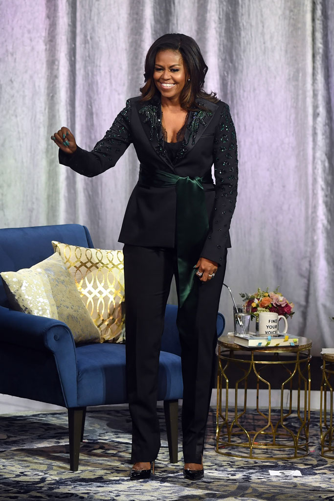 Michelle Obama, book tour, dundas custom pantsuit, celebrity style, becoming, oslo, norway, first lady