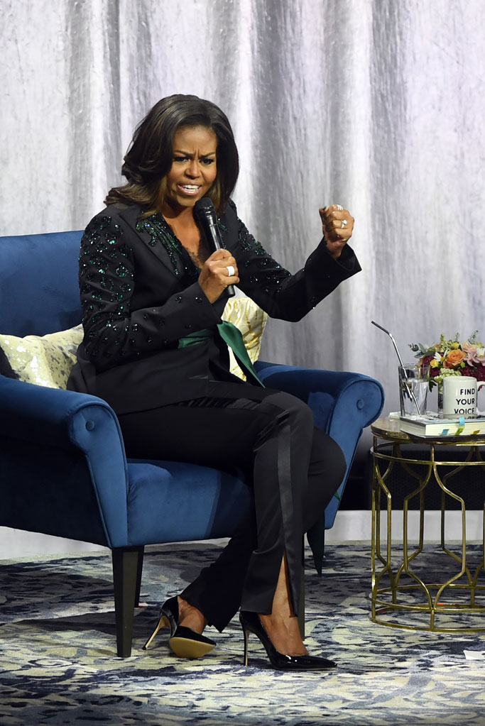Michelle Obama, oslo, norway, celebrity style, book tour, dundas, pantsuit, becoming, first lady