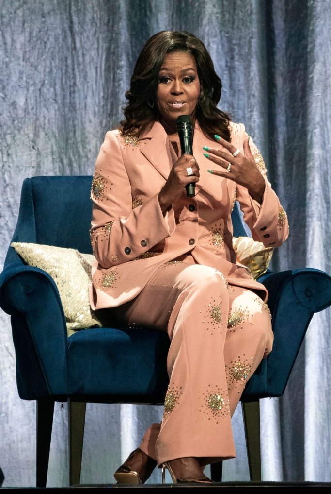 michelle obama , pink pantsuit, celebrity style, becoming book tour, stine goya