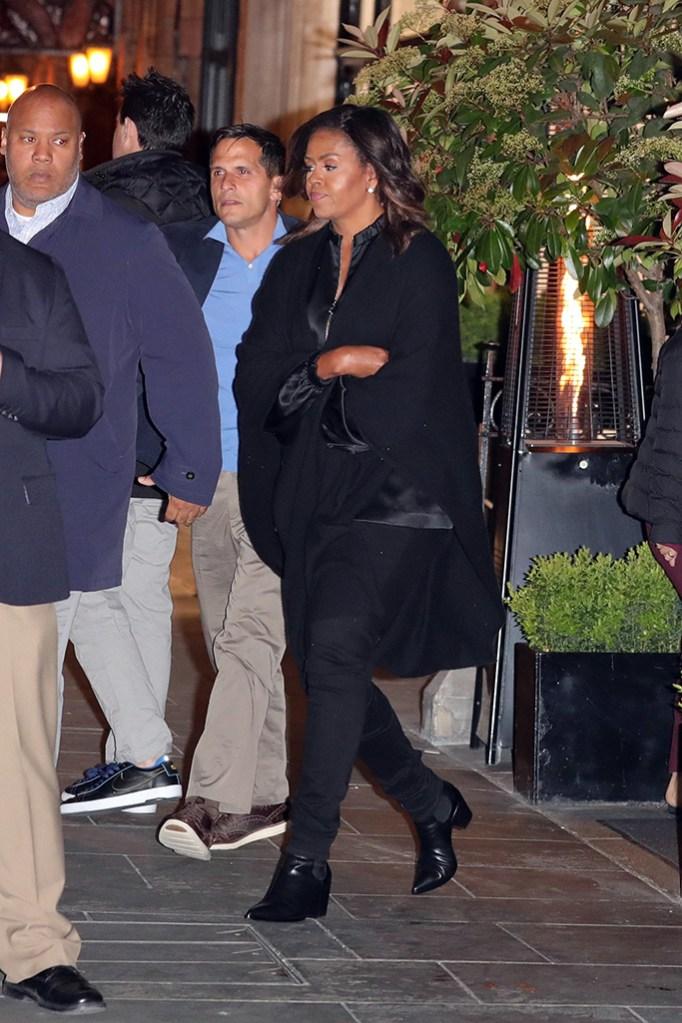 Michelle Obama, black boots, skinny pants, all black ensemble, leaving Scott's restaurant in London's MayfairPictured: Michelle ObamaRef: SPL5079763 130419 NON-EXCLUSIVEPicture by: Mark Milan / SplashNews.comSplash News and PicturesLos Angeles: 310-821-2666New York: 212-619-2666London: 0207 644 7656Milan: 02 4399 8577photodesk@splashnews.comWorld Rights