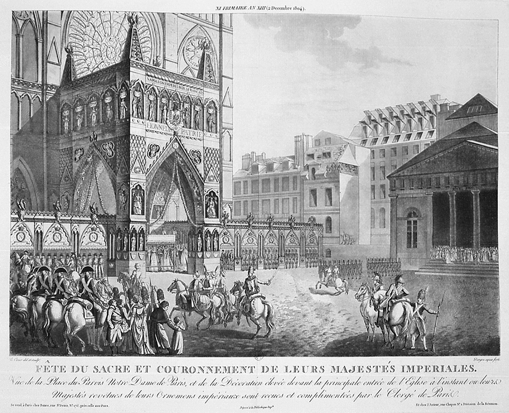 Coronation of Napoleon I, 2 December 1804. Arrival of the Emperor and the Empress Josephine at Notre Dame, Paris. Engraving.History