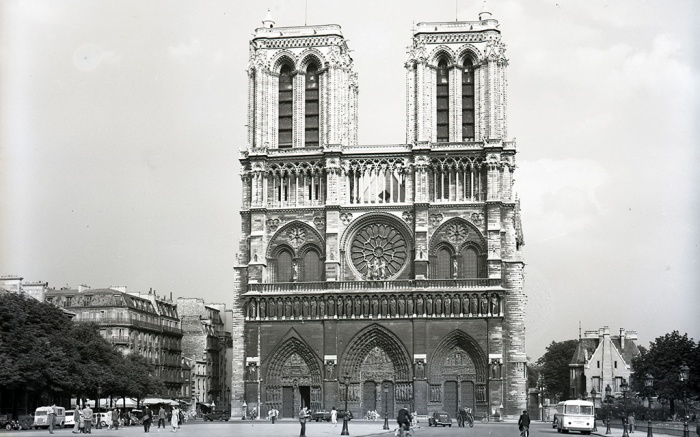 Paris In 1949. The West Front Of Notre Dame Cathedral.