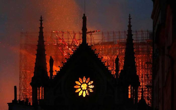 Notre Dame Cathedral on fire Monday night, Paris.