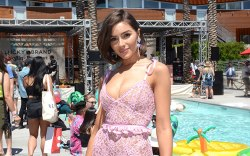 olivia culpo, pink lace dress, lucky