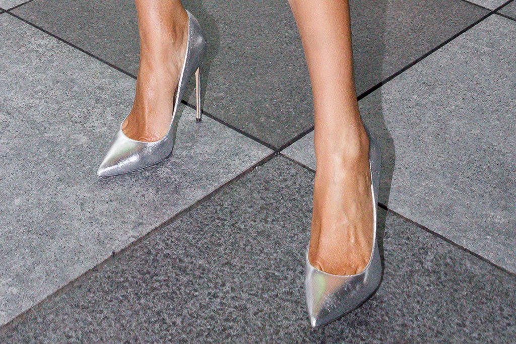 olivia culpo, celebrity style, brian atwood silver pumps