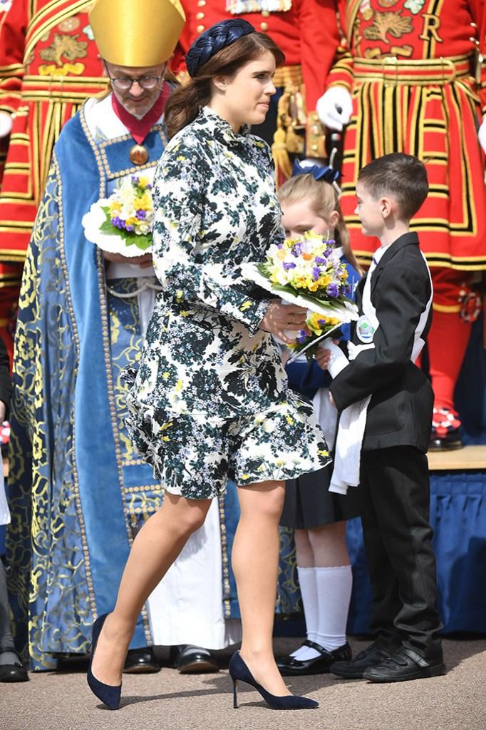 Princess Eugenie, erdem floral dress, blue suede pumps, Royal Maundy Service, St George's Chapel, Windsor, Berkshire, UK - 18 Apr 2019Wearing Erdem, Worn Before