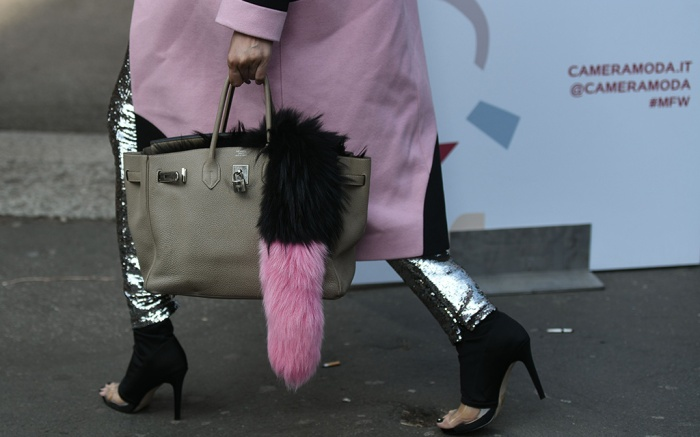 Street style, detail Street Style, Fall Winter 2019, Milan Fashion Week, Italy - 20 Feb 2019