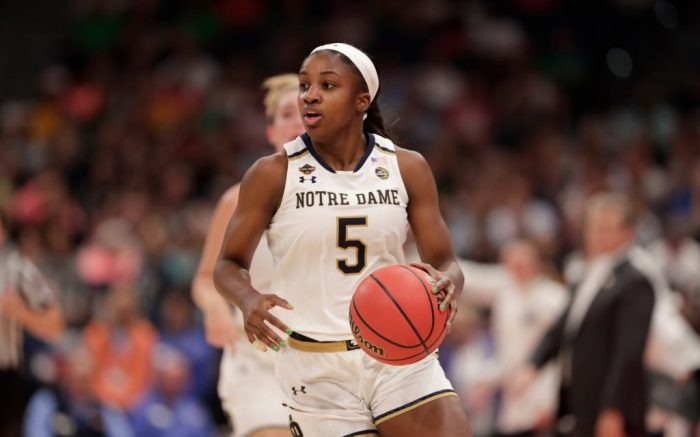 Notre Dame guard Jackie Young (5) dribbles the ball, during the second half of a women's Final Four NCAA college basketball semifinal tournament game against Connecticut, in Tampa, FlaFinal Four Notre Dame UConn Basketball, Tampa, USA - 05 Apr 2019