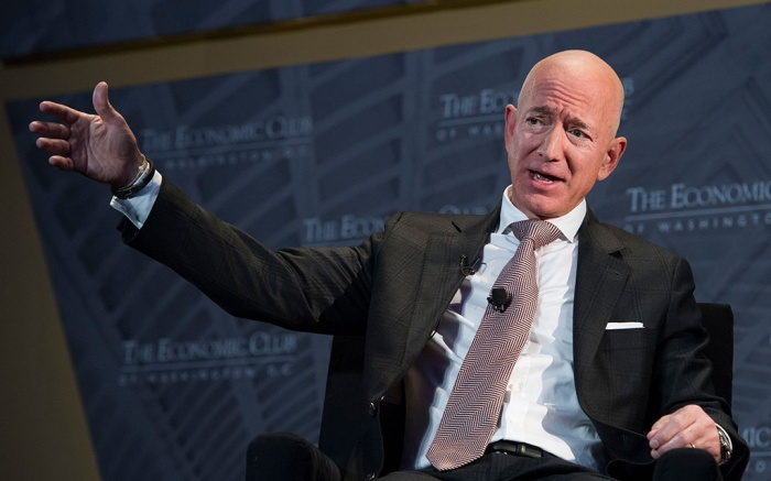 Jeff Bezos, Amazon founder and CEO, speaks at The Economic Club of Washington's Milestone Celebration in Washington, . Bezos said that he is giving $2 billion to start the Bezos Day One Fund which will open preschools in low-income neighborhoods and give money to nonprofits that helps homeless familiesJeff Bezos Charitable Fund, Washington, USA - 13 Sep 2018