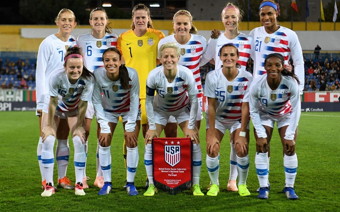 U.S. Women's national team starting elevenUSWNT v Portugal, USWNT, Estadio António Coimbra da Mota, Estoril, Portugal - 08 Nov 2018Estoril, Portugal - Thursday November 8, 2018: The women's national teams of the United States (USA) and Portugal (POR) play in an international friendly game at Estadio António Coimbra da Mota.