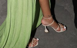 Rihanna, celebrity style, amina muaddi sandals,