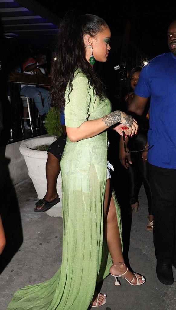Rihanna, celebrity style, amina muaddi sandals, green cardigan, bra, cleavage, sunglasses,