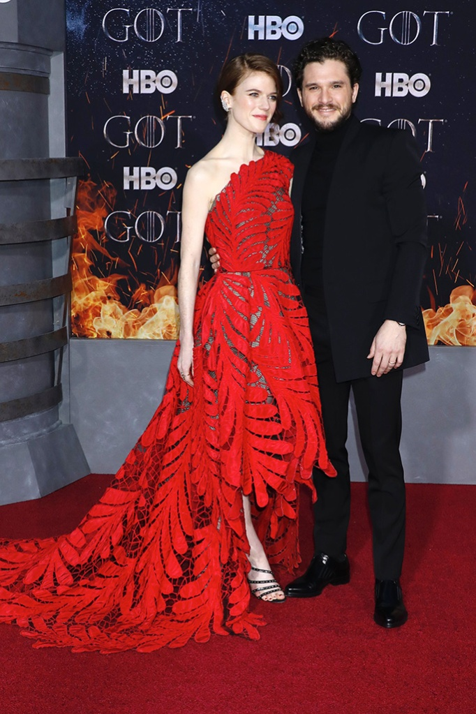 Rose Leslie, Kit Harington'Game of Thrones' season eight premiere, Arrivals, New York, USA - 03 Apr 2019, oscar de la renta, red carpet, celebrity style