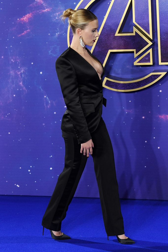 Scarlett Johansson'Avengers: Endgame' film fan event, London, UK - 10 Apr 2019 Wearing Tom Ford same outfit as catwalk model *9865768ay