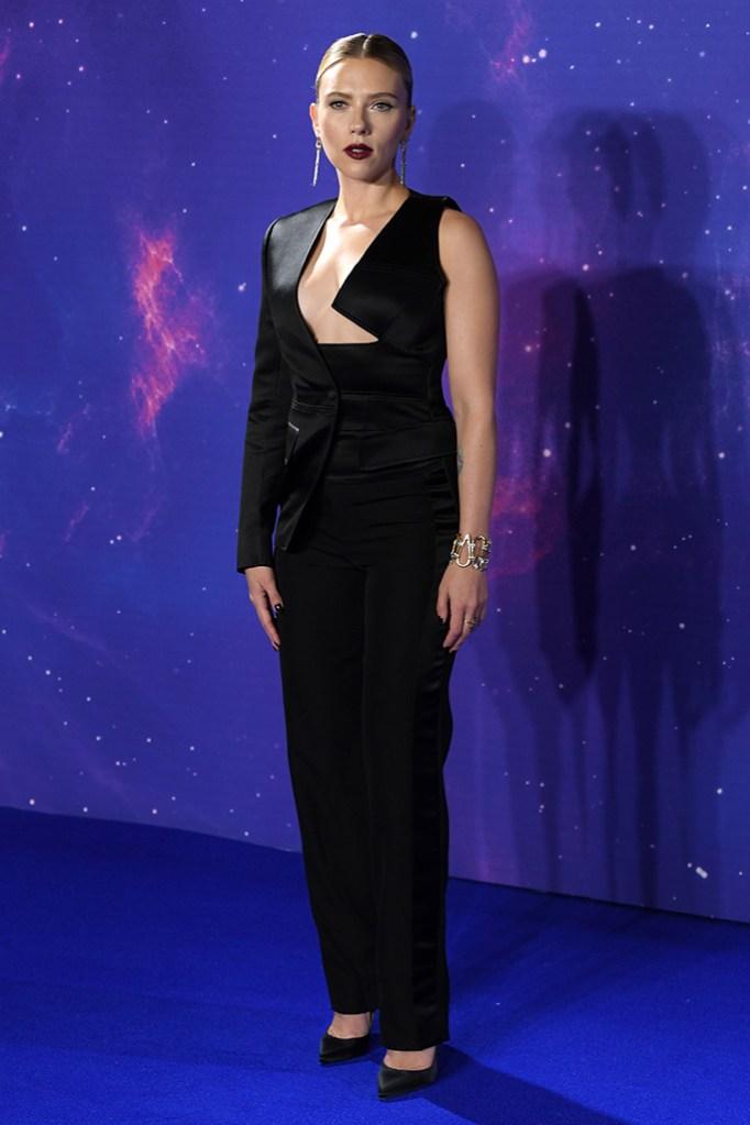 Scarlett Johansson, Tom Ford, blazer, pants, high heels, 'Avengers: Endgame' film fan event, London, UK - 10 Apr 2019Wearing Tom Ford same outfit as catwalk model *9865768ay