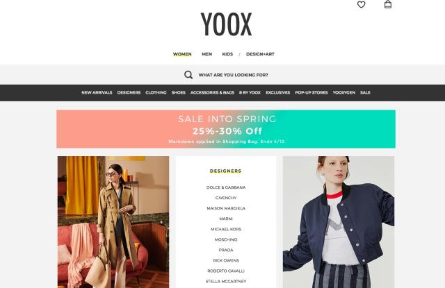 Yoox homepage.