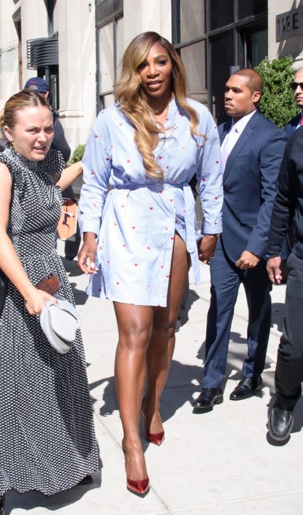 serena williams, giuseppe zanotti,r ed metallic heels, pumps, stilettos, celebrity style, serena dress, wardrobe malfunction