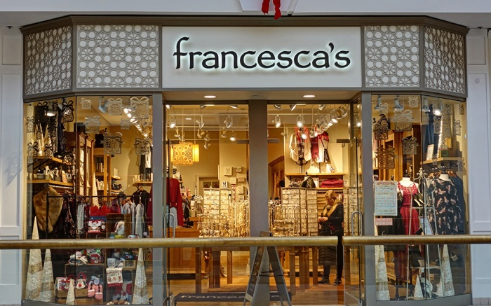Francesca's women's boutique storefront, shopping mall - Saugus, Massachusetts USA - December 18, 2017; Shutterstock ID 778045252; Usage (Print, Web, Both): Web; Issue Date: 4/26