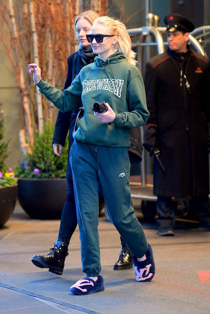 Sophie Turner, nyc, louis vuitton, mink, celebrity style, adidas, sweatpants, sweatshirt