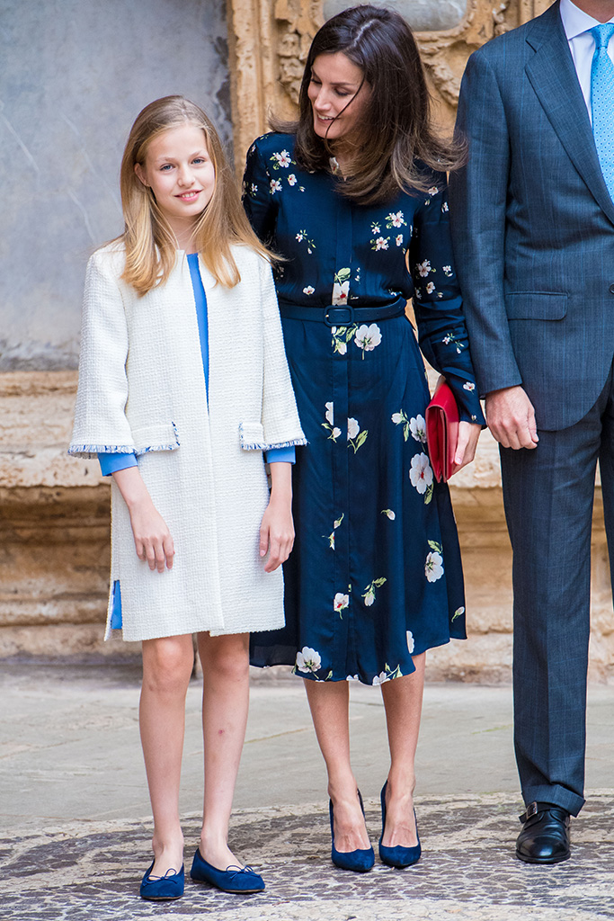 Queen Letizia, royal celebrity style, magrit, massimo dutti, with daughter Crownprincess LeonorSpanish Royal Family attend mass, Palma De Mallorca, Spain - 21 Apr 2019