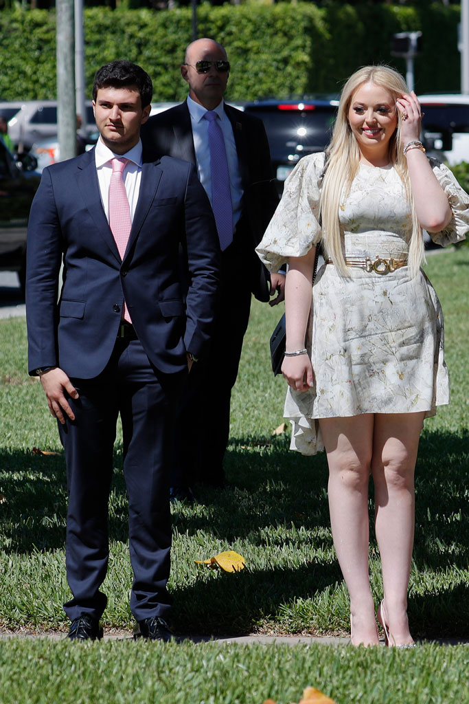 tiffany trump, celebrity style, aruna seth butterfly heels, mar-a-lago, easter, 2019, floral dress, crystal-covered pumps, boyfriend