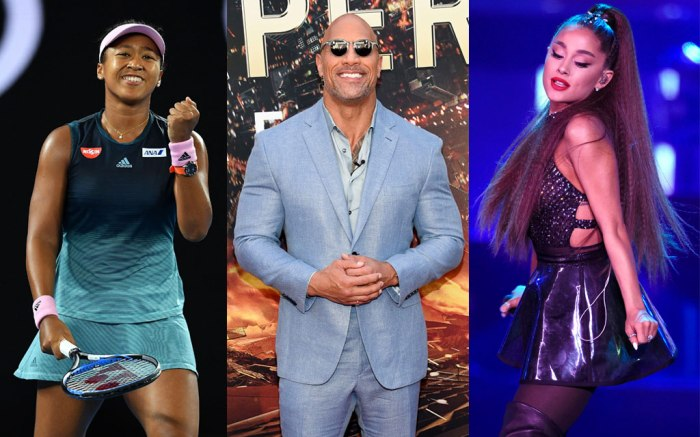 (L-R): Naomi Osaka, Dwayne Johnson and Ariana Grande make Time's 100 Most Influential People list.