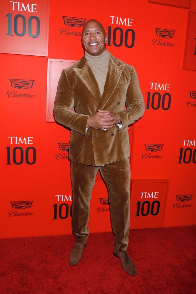 Dwayne Johnson, ralph lauren suit, time 100 gala, celebrity style, red carpet