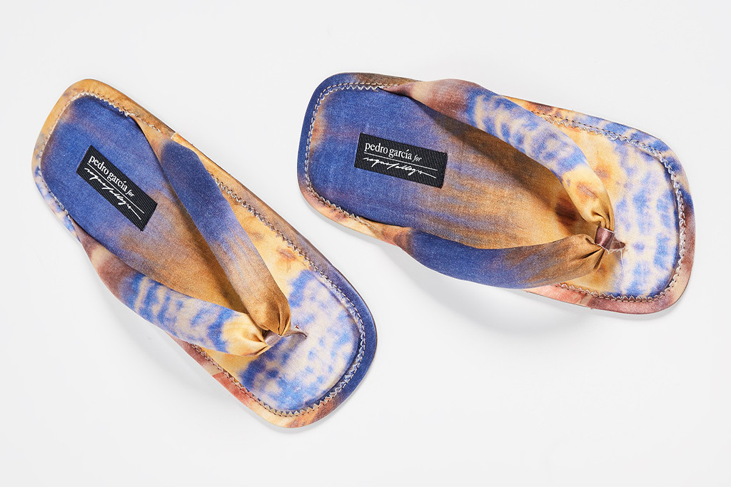 Pedro Garcia Women's x Raquel Allegra Kaname Flip Flop, tie dye shoes, spring 2019 trends, festival style