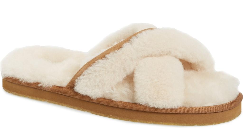 ugg abela shearling flip flop sandals