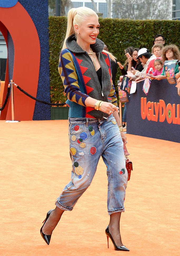 Gwen Stefani', christian louboutin so kate pumps, jeans, fishnets, red carpet, UglyDolls' film premiere, Arrivals, Regal Cinemas, Los Angles, USA - 27 Apr 2019