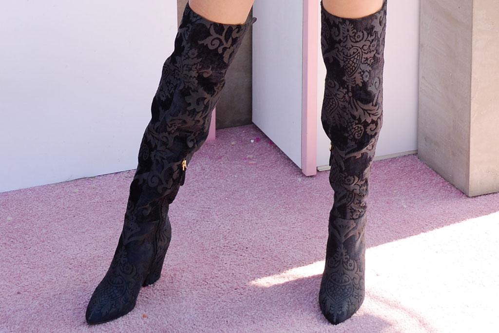 victoria justice, brocade thigh-high boots, celebrity style, music festival, coachella 2019,