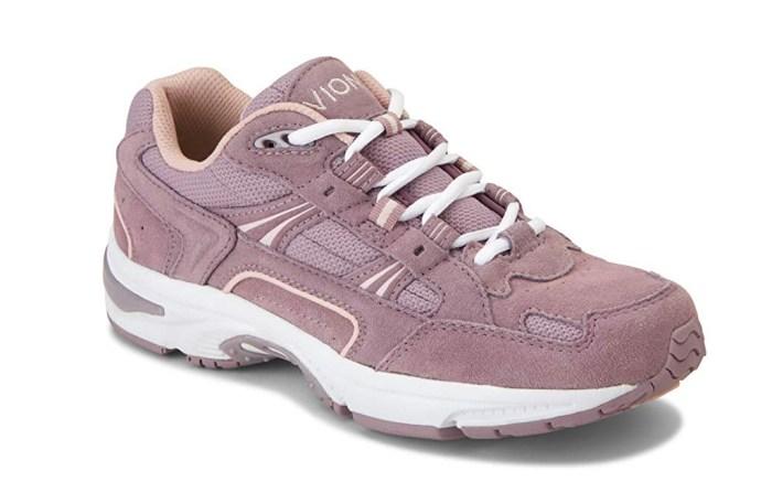 foot pain shoes, vionic walker classic shoes, purple