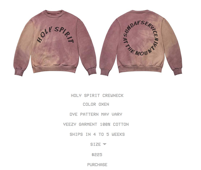 yeezy, merch, sunday service sweater