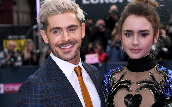 Zac Efron, Lily Collins, giuseppe zanotti double betty sandals, elie saab fall 2019 gown, 'Extremely Wicked, Shockingly Evil and Vile' film premiere, London, UK - 24 Apr 2019