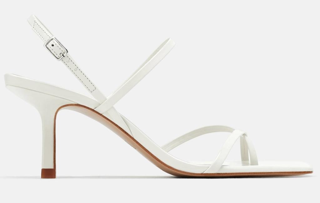 zara white leather mid heel sandals